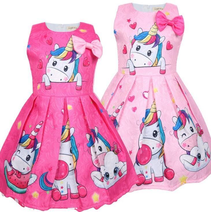 d64f1cfe8f4 2019 INS Hot Girls Unicorn Cartoon Pattern Skirt With Short Sleeve TUTU  Dress For 3 7T Girlsbaby Dress From Gzkids