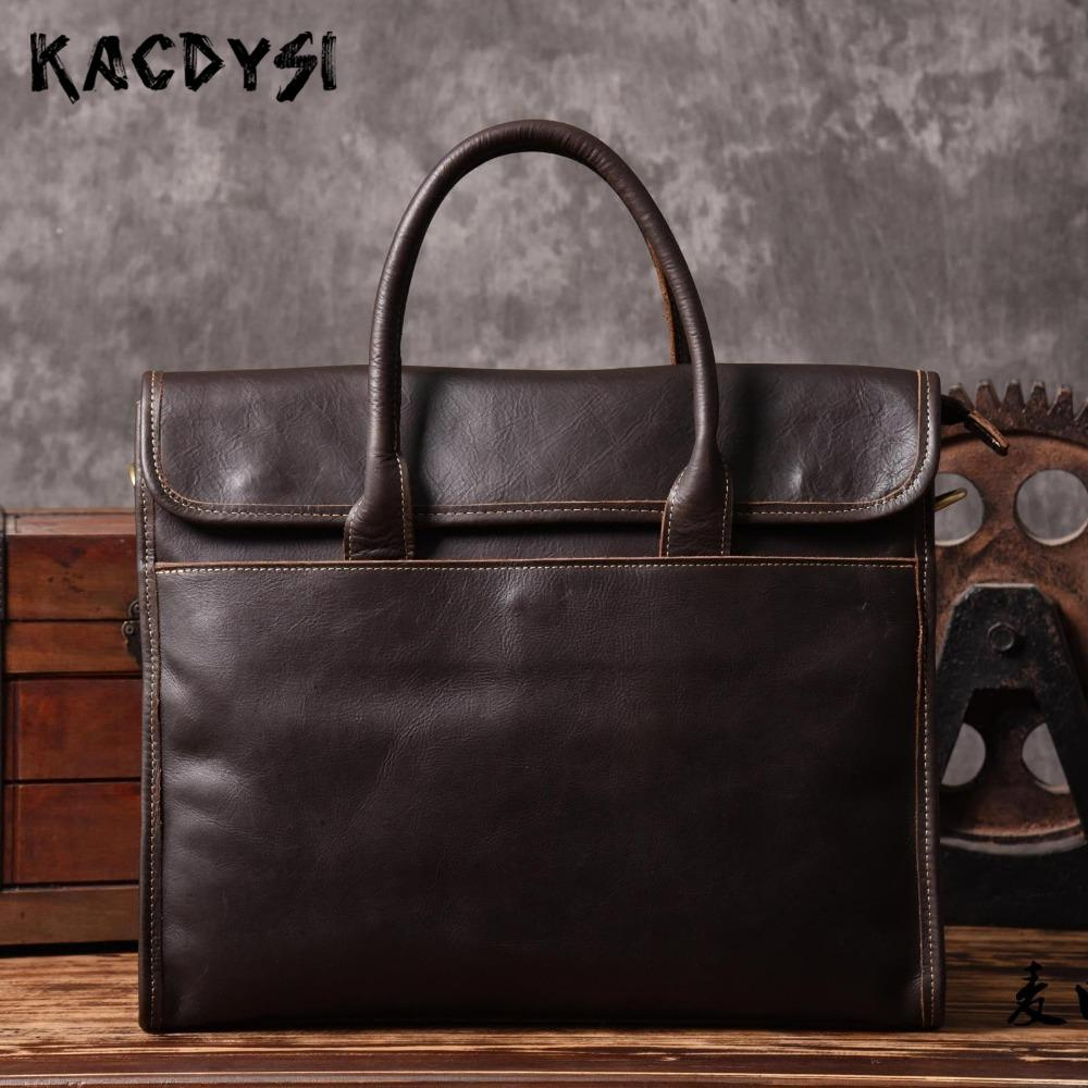 5c89dc41e380 Designer Genuine Leather Men s Briefcase Bags Luxury Retro Cowhide Handbag  Slim Business Pack Man Computer Bag Tote Shoulder Bag