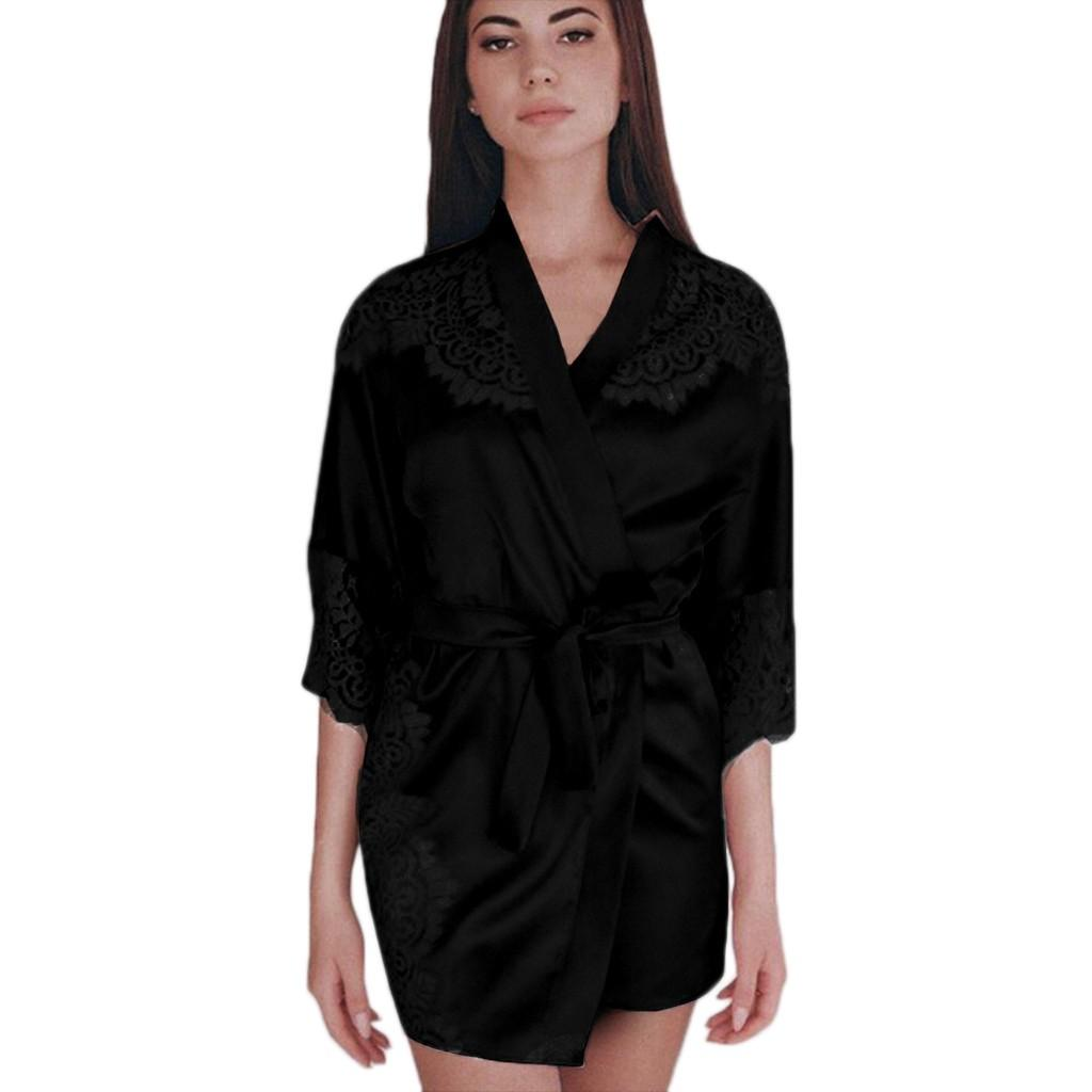 bb6287c695ce Sexy banho kimono robe mini pijamas Plus Size da dama de honra lingerie  noite robes roupão roupão de cetim robe szlafrok