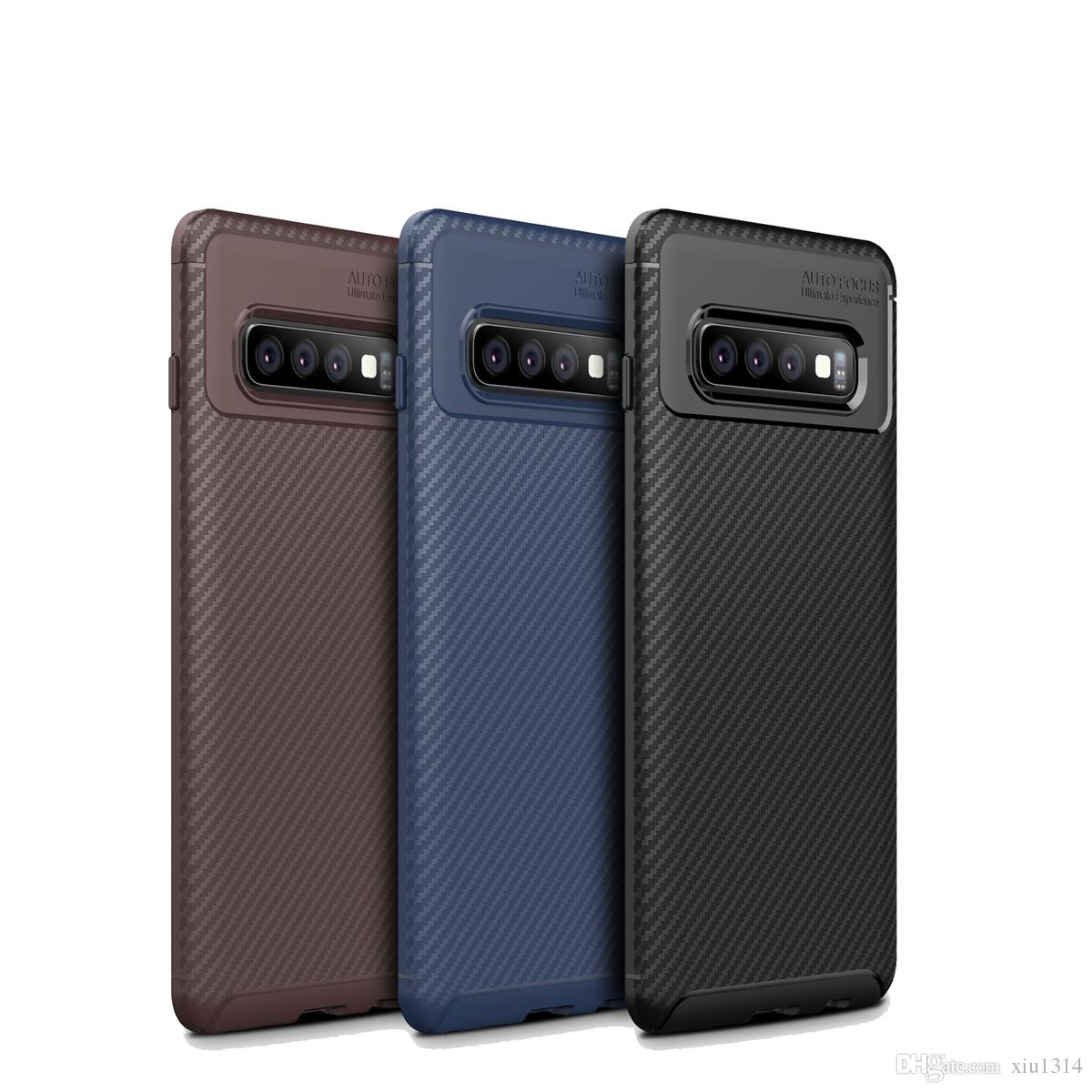 Shockproof Phone Case For Samsung Galaxy S10 S10E S10 Plus M20 A30 A50 A70 Carbon Fiber TPU Phone Case For iphone XS MAX XR X