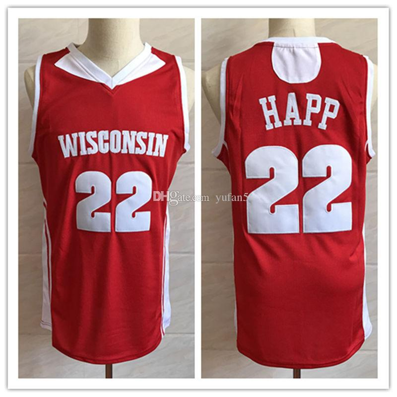 huge discount 1e775 729cc #22 Ethan Happ Wisconsin Badgers College Retro Classic Basketball Jersey  Mens Stitched Custom Number and name Jerseys