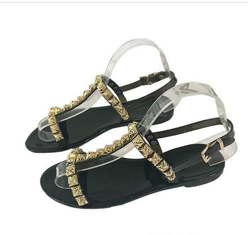 0224f0b7262 Women Flats Sandals Patent Leather High Quality Ladies Slippers Designer  Rivet Leisure Beach Sandals Sexy Flip Flops Q-171
