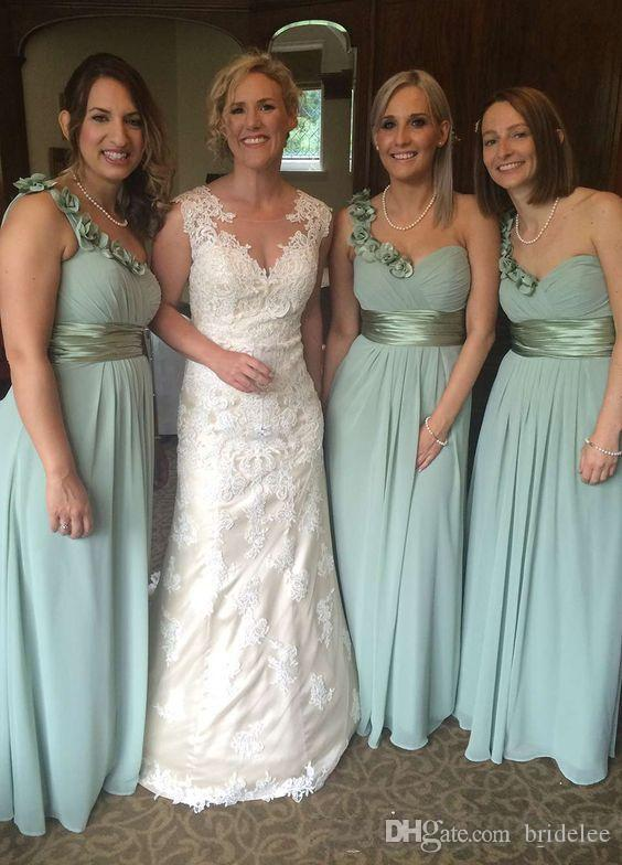 Hand Made Flower Long Turquoise Bridesmaid Dresses 2019 Custom Made A Line One shoulder Formal Bridesmaid Dresses For Wedding Gown