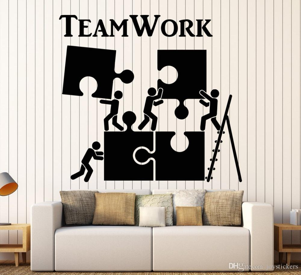 Vinyl Wall Decal Teamwork Motivation Decor For Office Worker Puzzle Wall Stickers Modern Interior Art Wall Decoration Hot