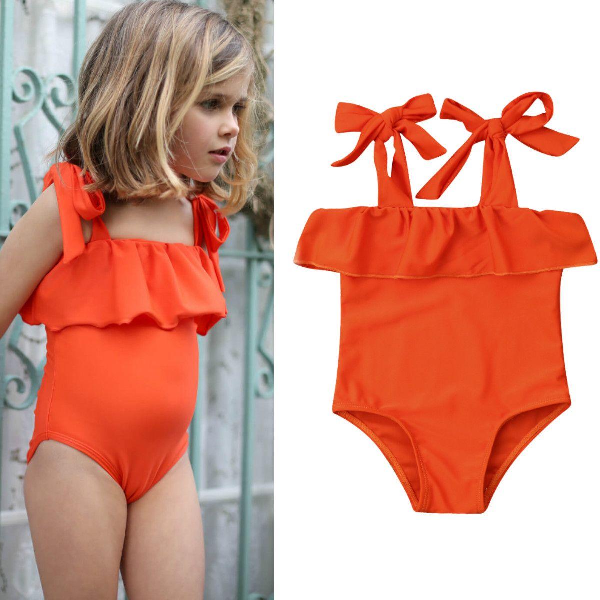 3df014a2fd3 2019 2019 New Baby Kid Girls Swimwear Summer Ruffles One Piece Bikini  Swimsuit Beach Bathing Suit Baby Girl Clothes 0 5T From Babieskids, $4.11 |  DHgate.Com