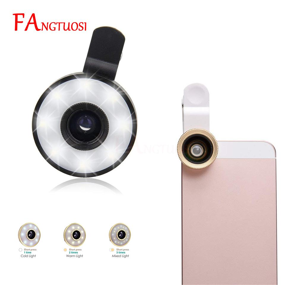 FANGTUOSI New Selfie Ring light Mobile Phone Camera LED Flash Light For  iPhone Adjustable Wide Angle Macro Fisheye Lens light
