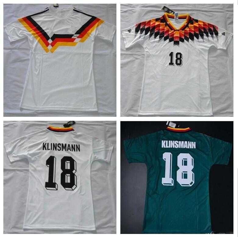 Compre Retro VINTAGE CLASSIC 1988 1990 1994 Campeonato Do Mundo Alemanha  KLINSMANN Matthäus Jerseys Casa Branco Superior Tailandês Camisas De Camisas  De ... 721455bd1dd16