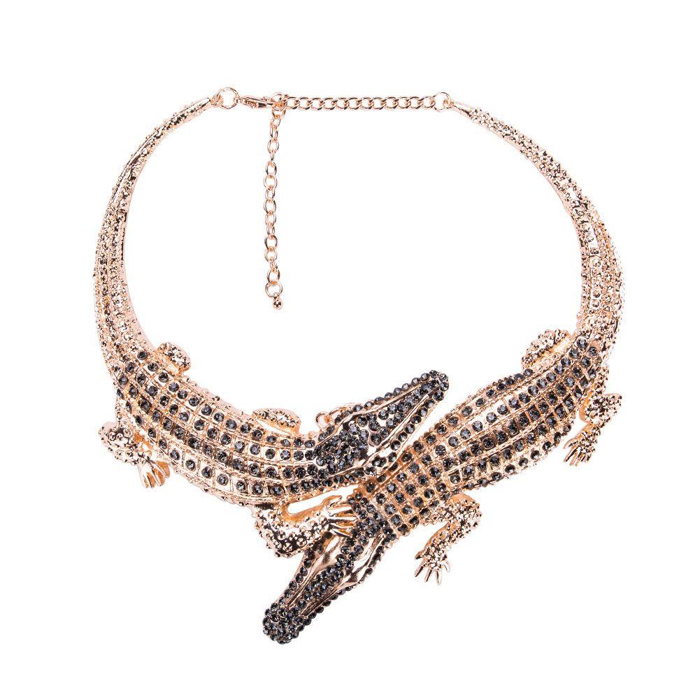 dbffa52cb0c 2019 Big Crocodile Necklaces Alloy Inlay Full Rhinestones Womens ...