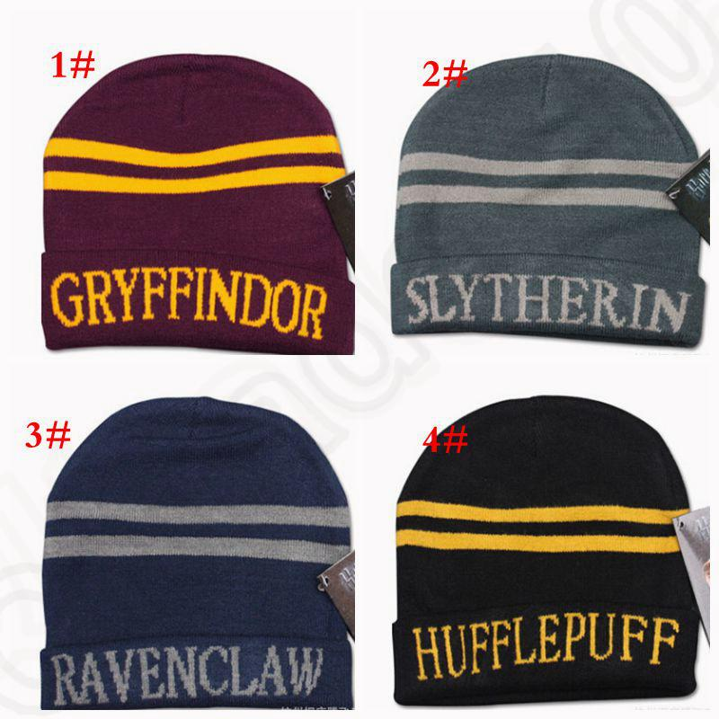 a258960d79d Harry Potter Hogwarts Beanie Hat Gryffindor Slytherin Hufflepuff Ravenclaw  Cap Warm Wool Knit Hat Cosplay School Striped Badge Hats KKA1387 Funny Hats  ...