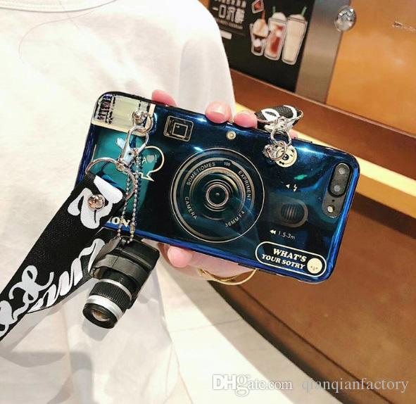 New Stylish Cell Phone Case Fashion Camera Design with Lanyard Girl Phone Cover Shell for Apple iPhone X XS XR MAX 8 7 6 Plus