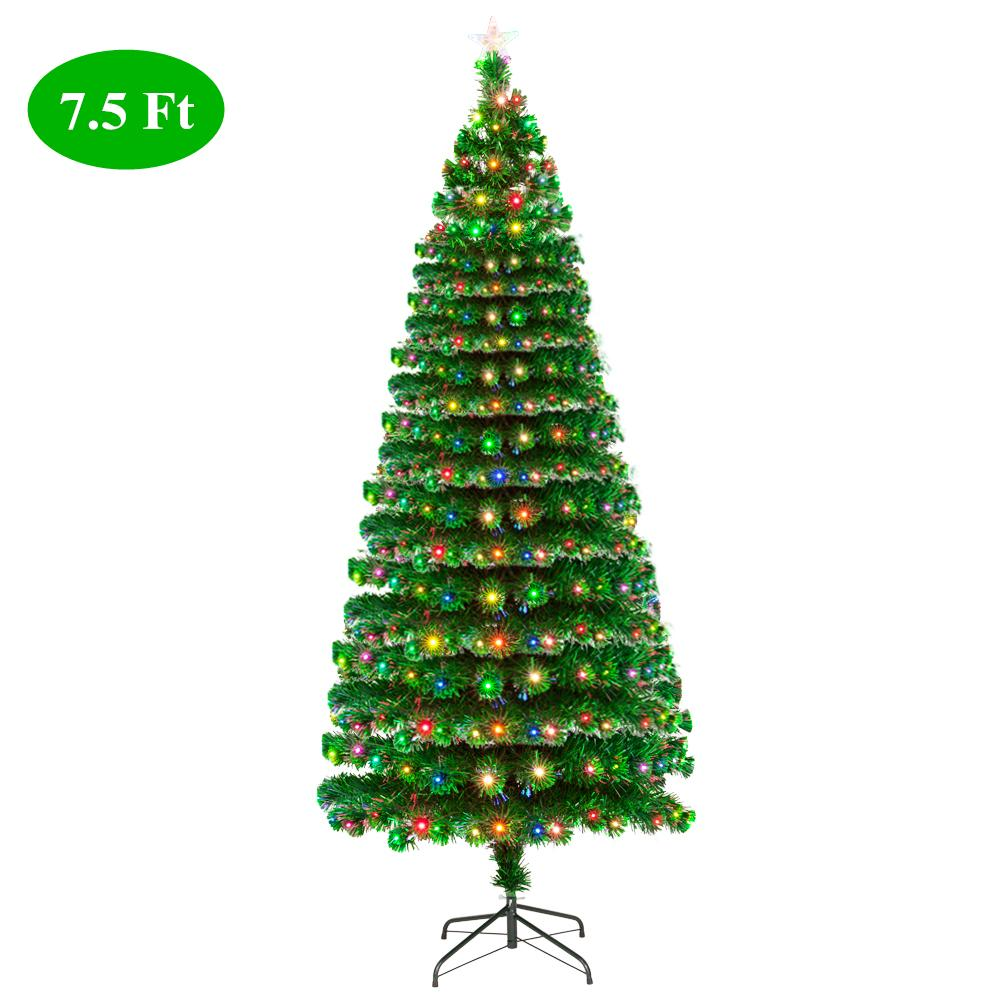 Fiberoptic Christmas Tree.Us Stock 7 5ft Fiber Optic Christmas Tree With 260 Led Lamps 260 Branches Pre Lit Artificial Merry Christmas Decoration