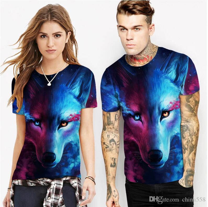 hot 2019 spring new wolf digital print T-shirt short-sleeved loose sports large size shirt bottoming shirt