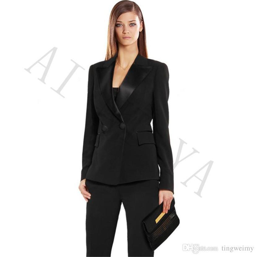 297ac641c210 Compre Chaqueta + Pantalones Para Mujer Trajes De Negocios Negro Doble  Botonadura Mujer Uniforme De Oficina Negro Solapa De Satén Formal Delgado  Para Mujer ...