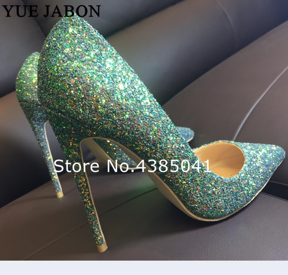 70892bbb56bf YUE JABON Green Glitter Bling Bling Wedding Shoes 8/10/12cm High Heel Pumps  Sexy Stiletto Heels Party Shoes For Women OL Shoes NZ 2019 From Zhongfubag,  ...