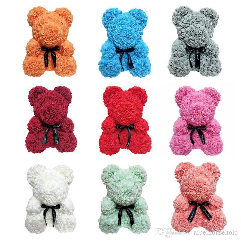Rose Bear Flower Dolls Artificial Toy Birthday Christmas Gifts For Girfriend Valentine, Muilty Color, 20/40cm, Gift Box Or Opp Bag