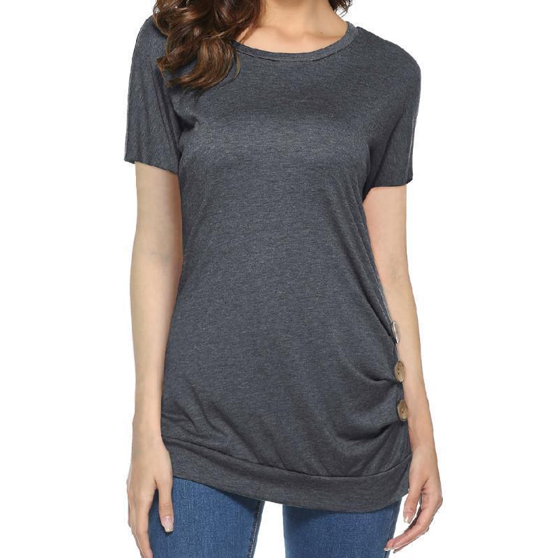 3dec27887ef4c Satın Al Yeni 2019 Kadın Gömlek Blusas Femme Rahat Üst Yaz Kadın O Boyun  Katı Düğme Kısa Kollu Bluz Gömlek Tees Kadınlar Üst GV564, $29.22 |  DHgate.Com'da