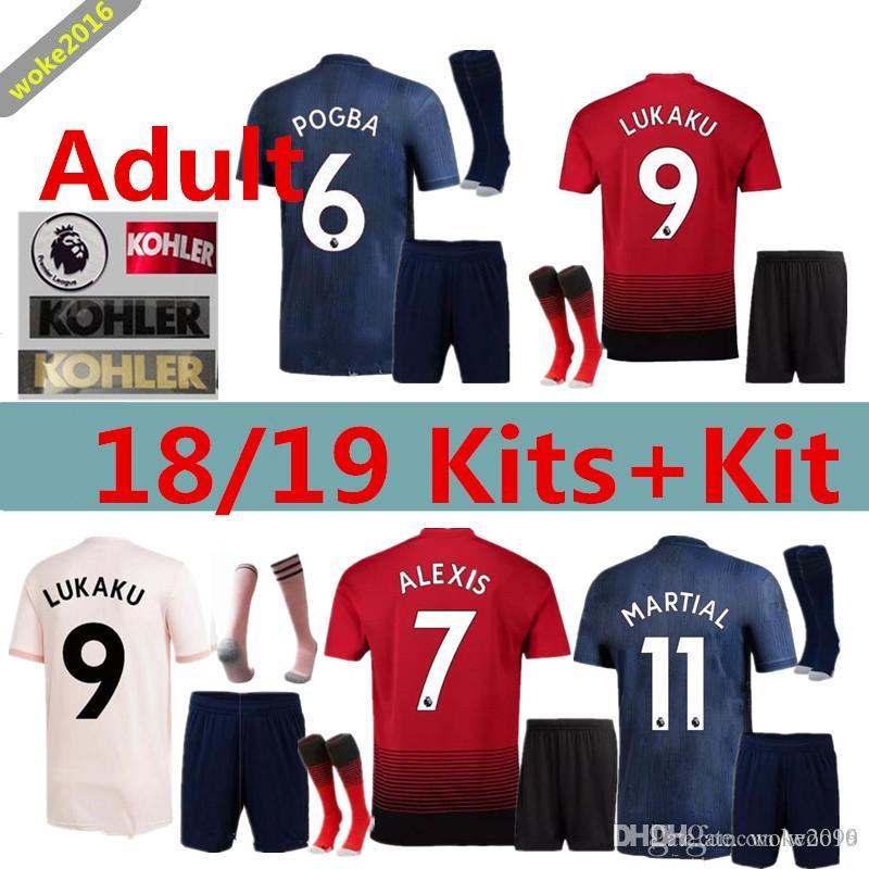 5970f648f Adult Home Away MANCHESTER UNITED 18 19 ALEXIS LUKAKU Set + Socks ...
