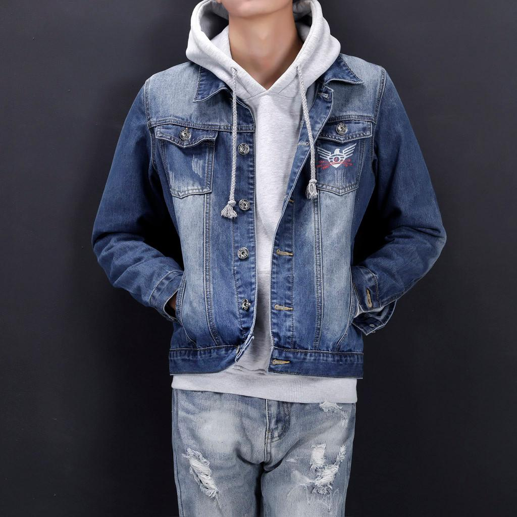 f1218c554c Men Hoodies Denim Pockets Pullover Long Sleeve Sweatshirt Tops Blouse  Outwear Coat Jacket Jean Jacket Outwear Male Cowboy NEW Winter Coats Jackets  Online ...
