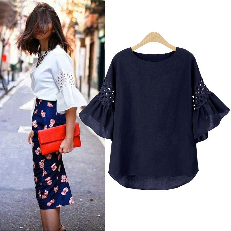 Hollow Out Butterfly Sleeve M-5xl Plus Size Chiffon T-shirts 2019 Summer The New Patchwork Extra Large Loose Casual Women Tops Y19042501