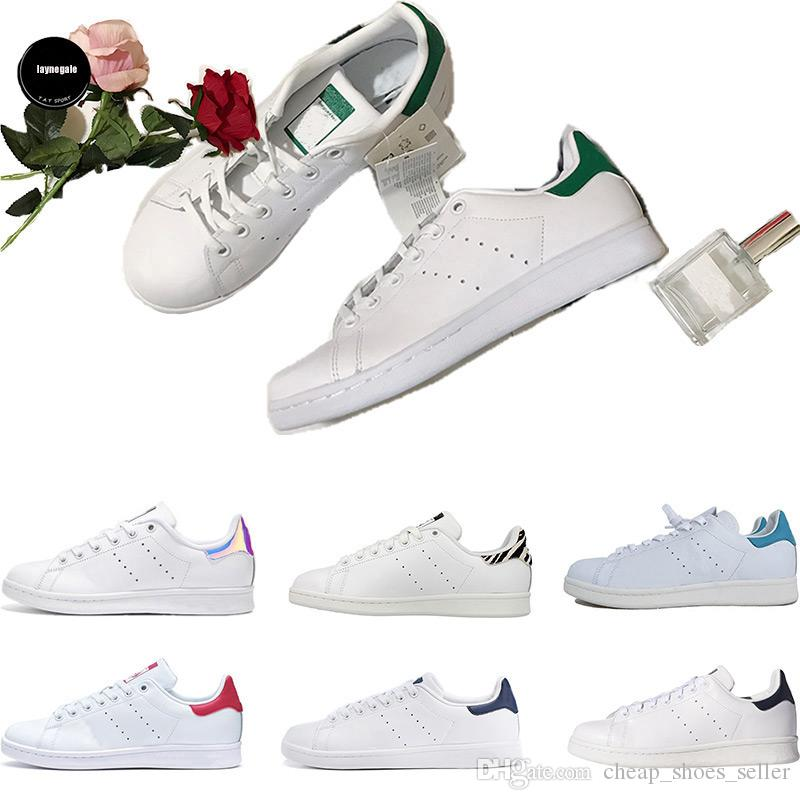 2019 Zapatos A Estrenar De Stan Moda Zapatillas Smith Mujeres Hombres  Zapatos Casuales Para Hombre Calzado Deportivo De Cuero Blanco Clásico  Pisos ... 27dc9d5ada3