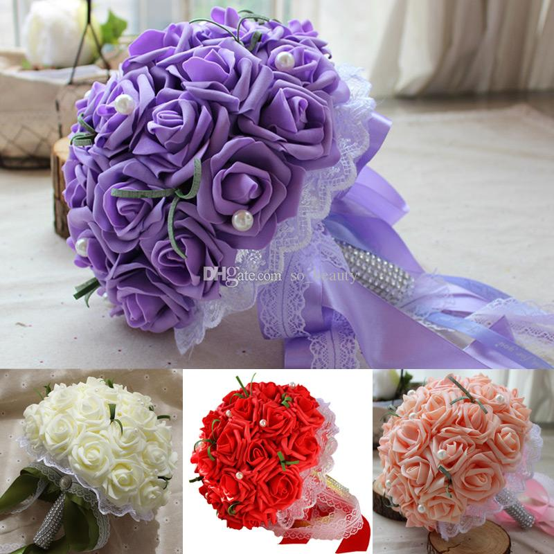 23cm Rose Artificial Flower Bridal Bouquet Bride Flowers Wedding Bouquet Silk Ribbon White Purple Pink Red