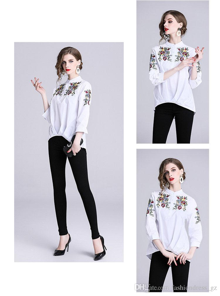 4719aef906b0d 2019 Embroidery Women Tops Latest New Designs Three Quarter Sleeve Plus Size  Lady Shirts Women Casual Cotton Loose Blouses From Fashiondress gz