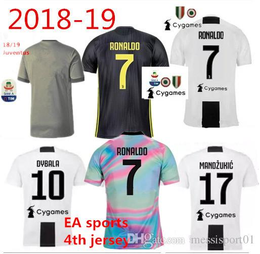 Juventus Soccer Jersey 4th EA SPORTS 2018/19 home away third RONALDO DYBALA Soccer Shirt MANDZUKIC PJANIC football shirt with all patches