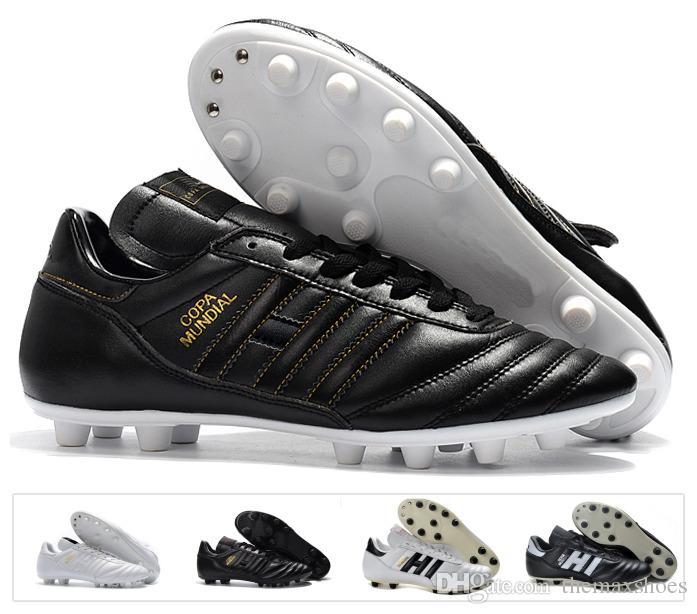 e77c9f4bc63da Compre Hot Classics Hombres Copa Mundial Cuero FG Zapatos De Fútbol Botines  De Descuento Copa Mundial De Fútbol Botas Negro Blanco Botines Futbol  Tamaño 39 ...