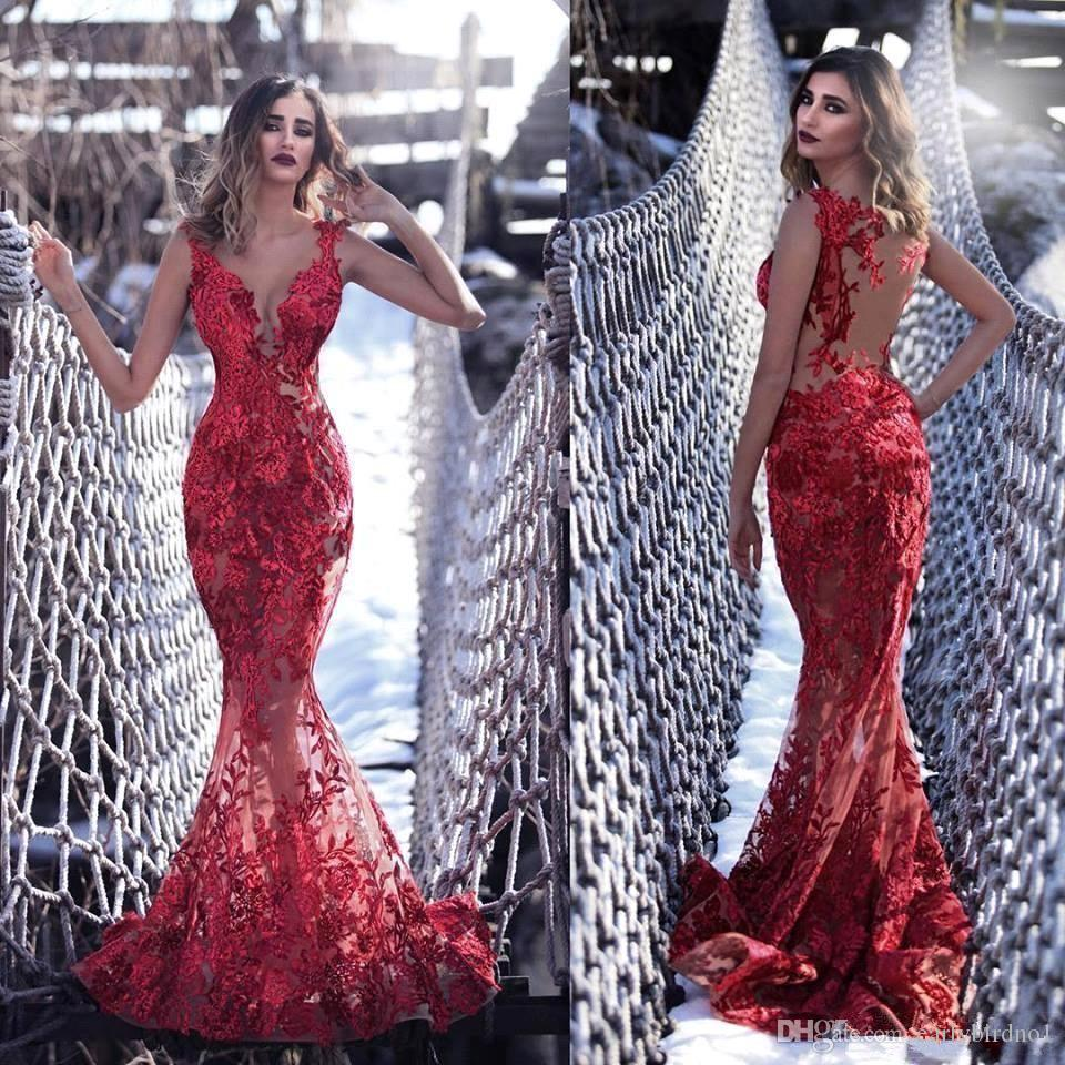 2019 Sexy Red Lace Appliqued Mermaid Prom Dresses Luxury Sheer Sheath Evening Gown Plus Size Formal Party Dresses BC2555