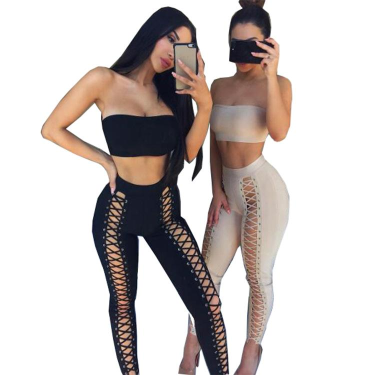 Womens Two-piece Suit 2019 Summer New Fashion Sports Suit Street Style Perspective Lace Pants Sexy tube Tops Trousers