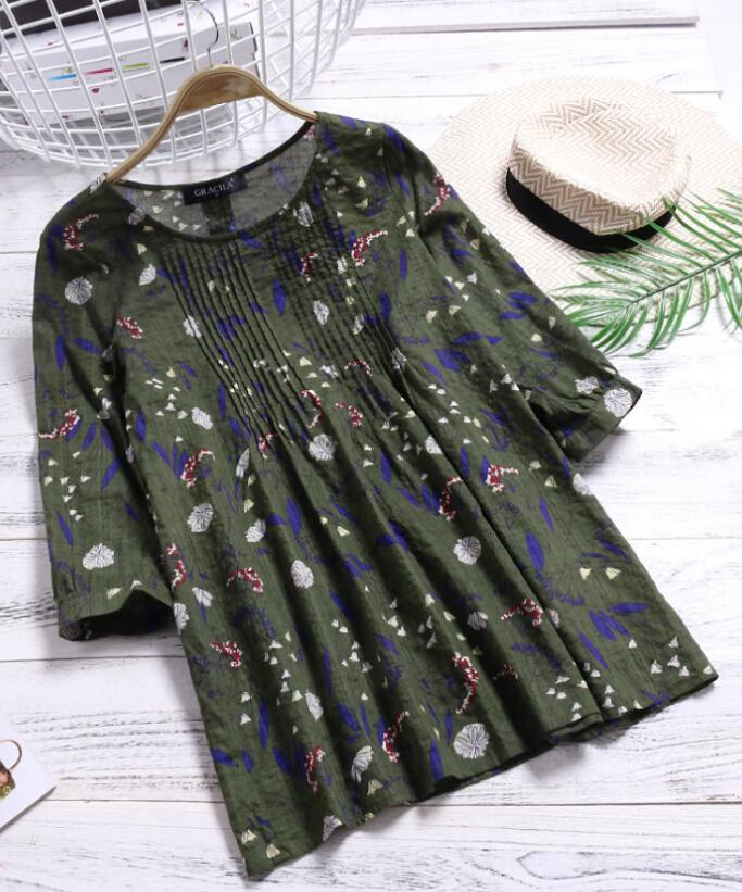acfea6bce66a Women Summer Casual Tops Blouse Half Sleeve Round Neck Floral Ladies Online  with  32.39 Piece on Feeling04 s Store