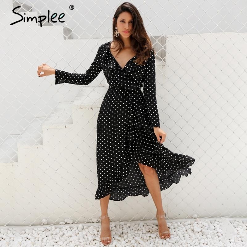 d968c255aaa4e Simplee Polka Dot Ruffle Wrap Long Dress Women Split Long Sleeve ...