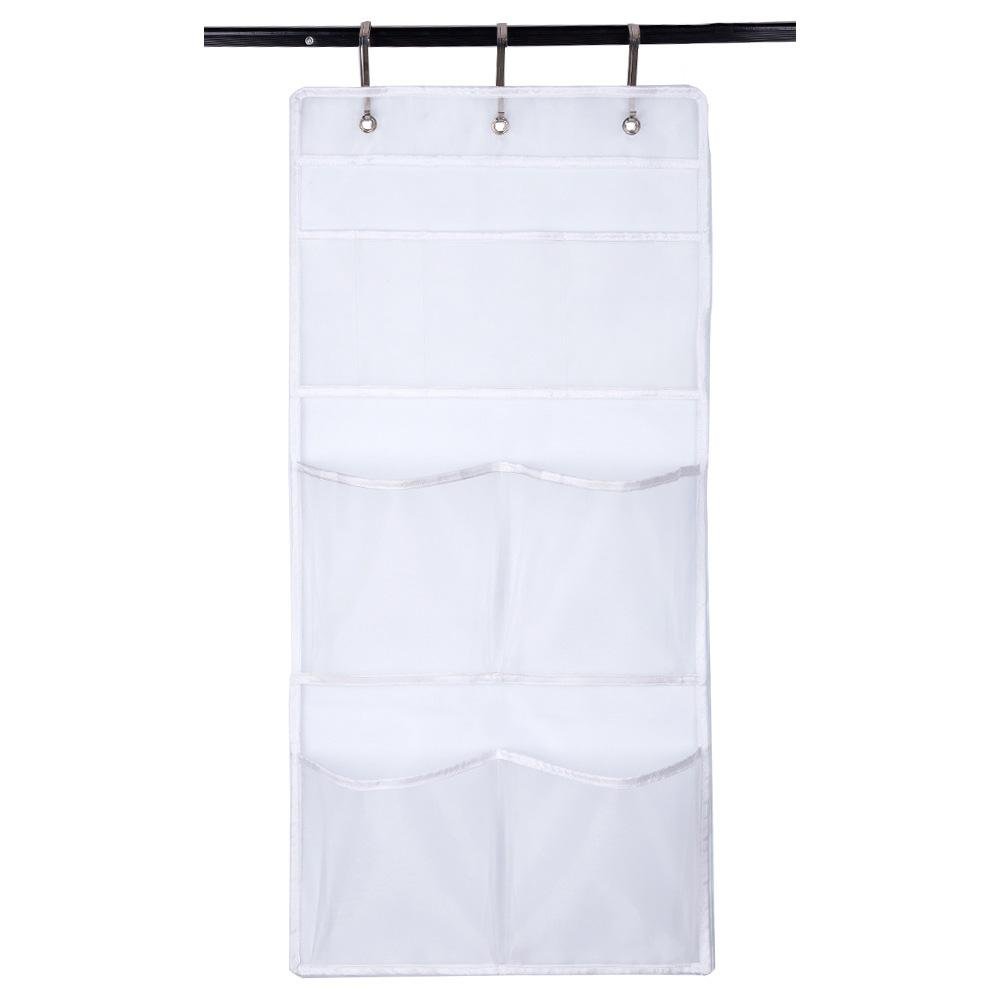 Transparent Holder Bathroom Hanging Curtain Foldable Hook Cotton Linen 7 Pockets Shower Organizer