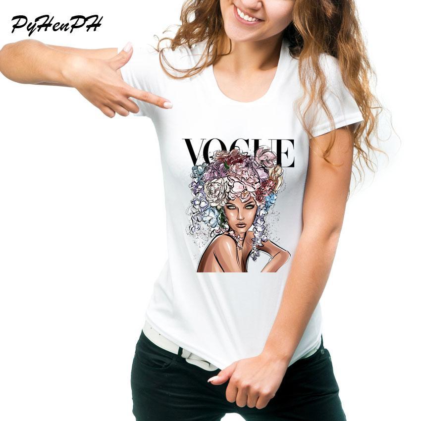 bf84f4726 Compre VOGUE Marca Design T Shirt Mulheres De Manga Curta O Pescoço ...