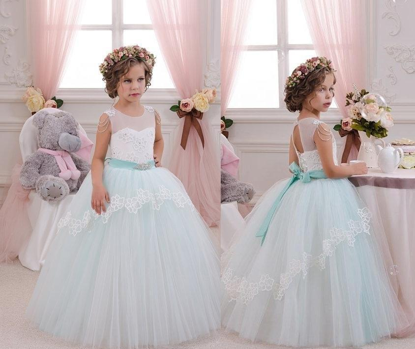 a254130ed Light Green Formal Tulle Lace Sheer Cute Pageant Flower Girl Dress Ball Gown  Floor Length Little Girl'S Kids Party Birthday Dress Girls Summer Dresses  ...