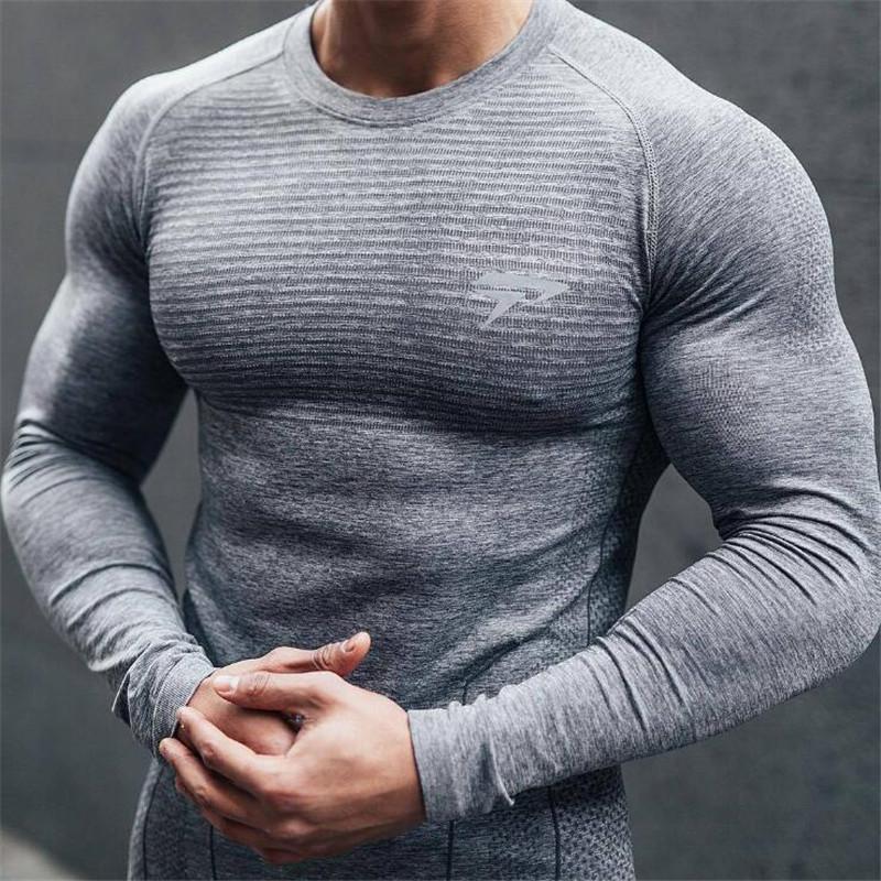 2019 De Hombres Manga Larga Camisetas Jogger Entrenamiento Hombre Secado Masculinas Rápido Apretadas Tops Primavera Nuevos H9D2IE