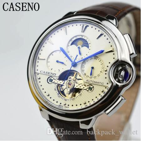 2019 CASENO Tourbillon Business Mens Watch Top Brand Luxury Belt Watch Men Mechanical Automatic Wristwatch Skeleton Male Clocks