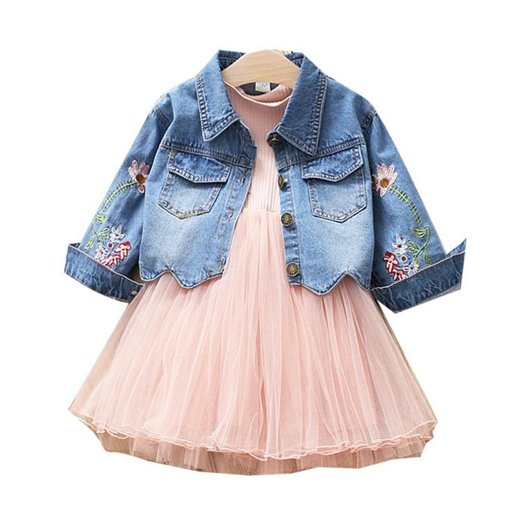 2019 2018 Spring Autumn Kids Girl Clothing Sets Denim Jacket