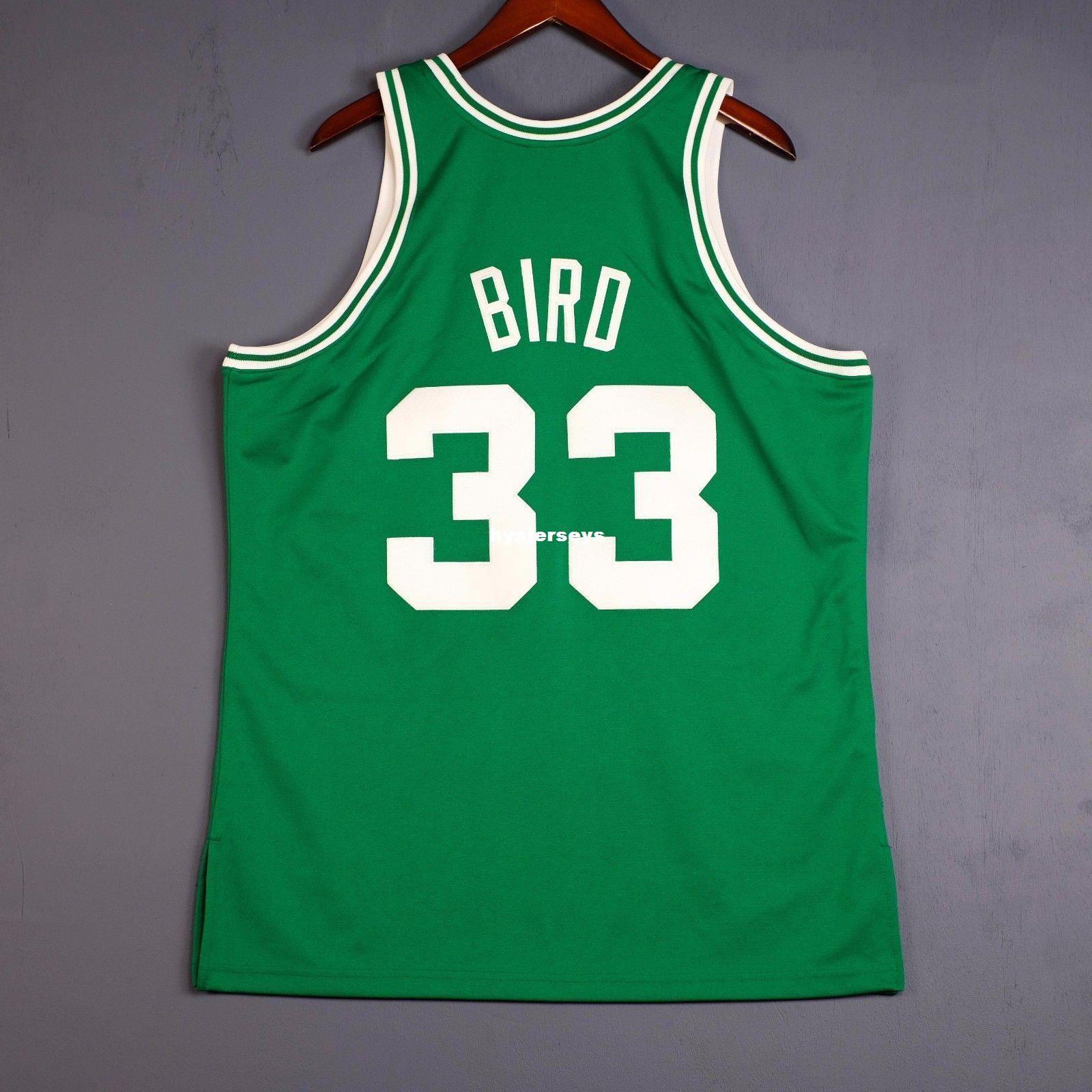 21e17821d08 2019 100% Stitched #33 Larry Bird Mitchell Ness Jersey Mens Green ...