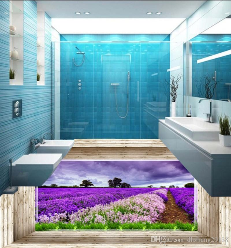 Custom 3D Mural Floor Wallpaper Beautiful scenery of flowers and plants Waterproof For Bathroom Floor Wall Stickers Vinyl Kitchen Wall Paper