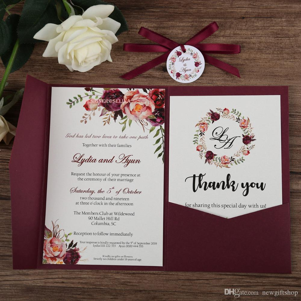 Burgundy Flower Printing Wedding Invitation With Rsvp Card And