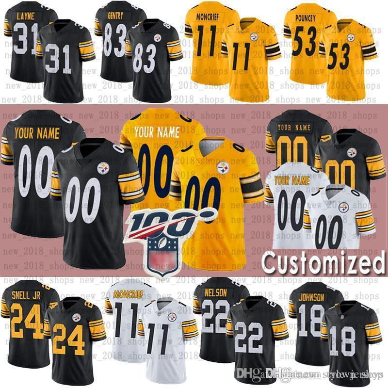quality design 6abce 33189 Custom Pittsburgh Men Steelers Jersey 53 Maurkice Pouncey 97 Cameron  Heyward 11 Donte Moncrief 31 JUSTIN LAYNE 24 BENNY SNELL JR. Jerseys