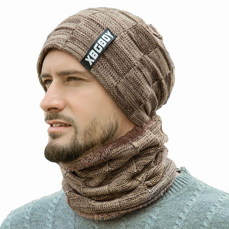 2020 Новая мода зима теплая Мужские Термические Шапочки Твердая Вязаная Мода Повседневная Skullies Hat Winter Cap
