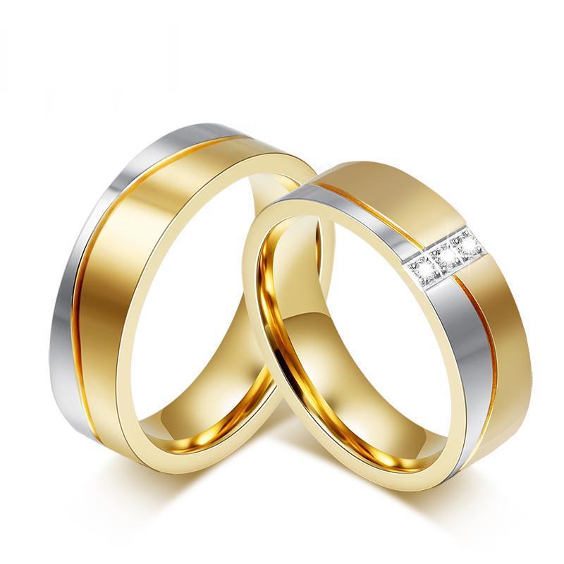Wedding Rings For Women Men Gold Color Elegant Lovers Promise