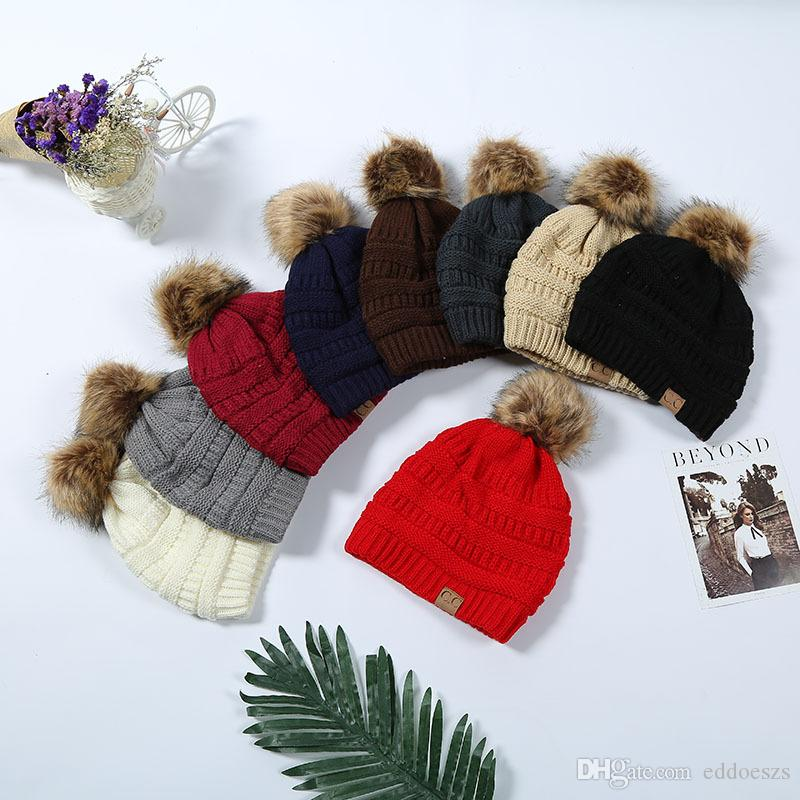 c527d8efab2f9 CC Beanie Knitted Pom Pom Hats Winter Woolen Cap Pompom Beanies ...
