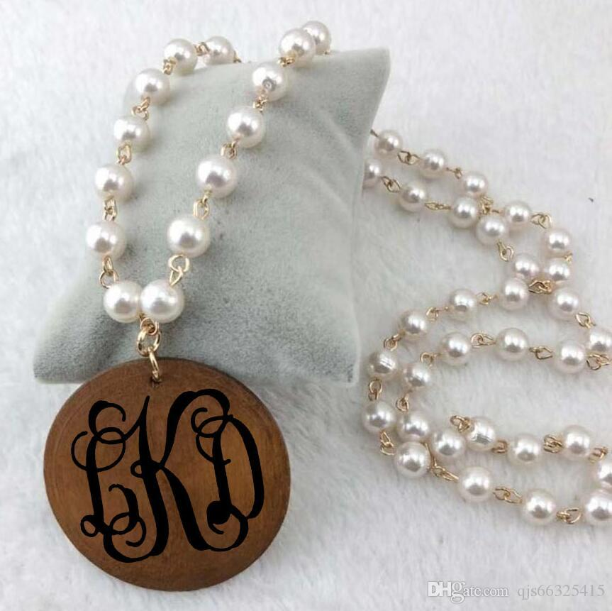 Personalized Vinyl Monogram Pearl Linked Wooden Disc Pendent Necklace monogram natural wood beads round disc Pendant Necklace