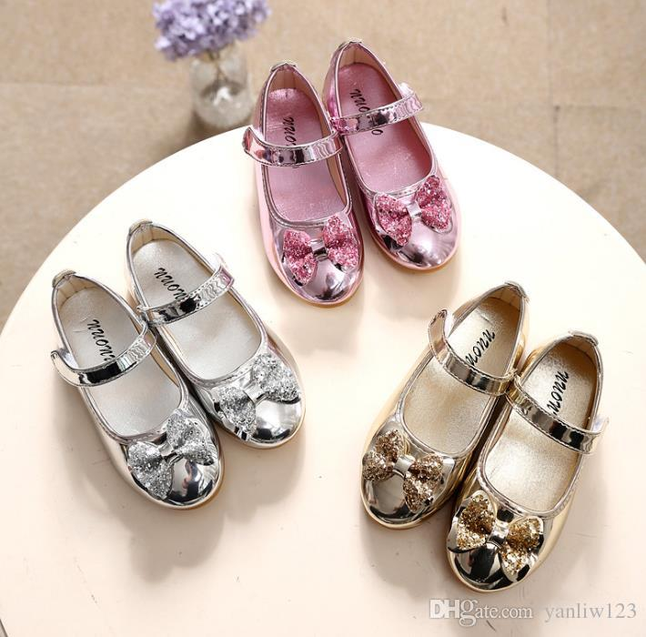Mumoresip Princess Shoes Pink Gold Silver Girls Shoes Glitter Rhinestone Sequins Kids Flats Children Wedding Party Dress Shoes