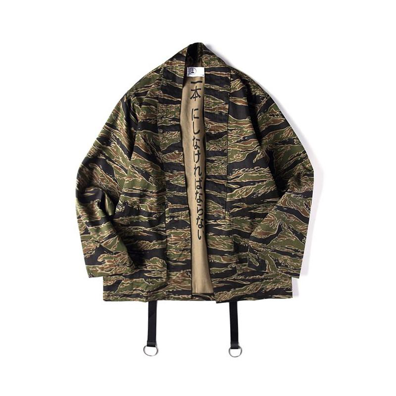 Japanese Camo Kimono Jackets Chinese Style Mens Hip Hop Camouflage Casual Open Stitch Coats Fashion Streetwear Jacket Xl Jk002