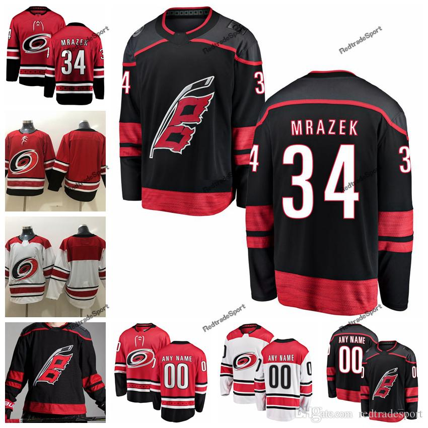 new style 8b596 3a415 2019 Mens Carolina Hurricanes Petr Mrazek Hockey Jerseys Cheap New Black  #34 Petr Mrazek Stitched Jerseys Customize Name