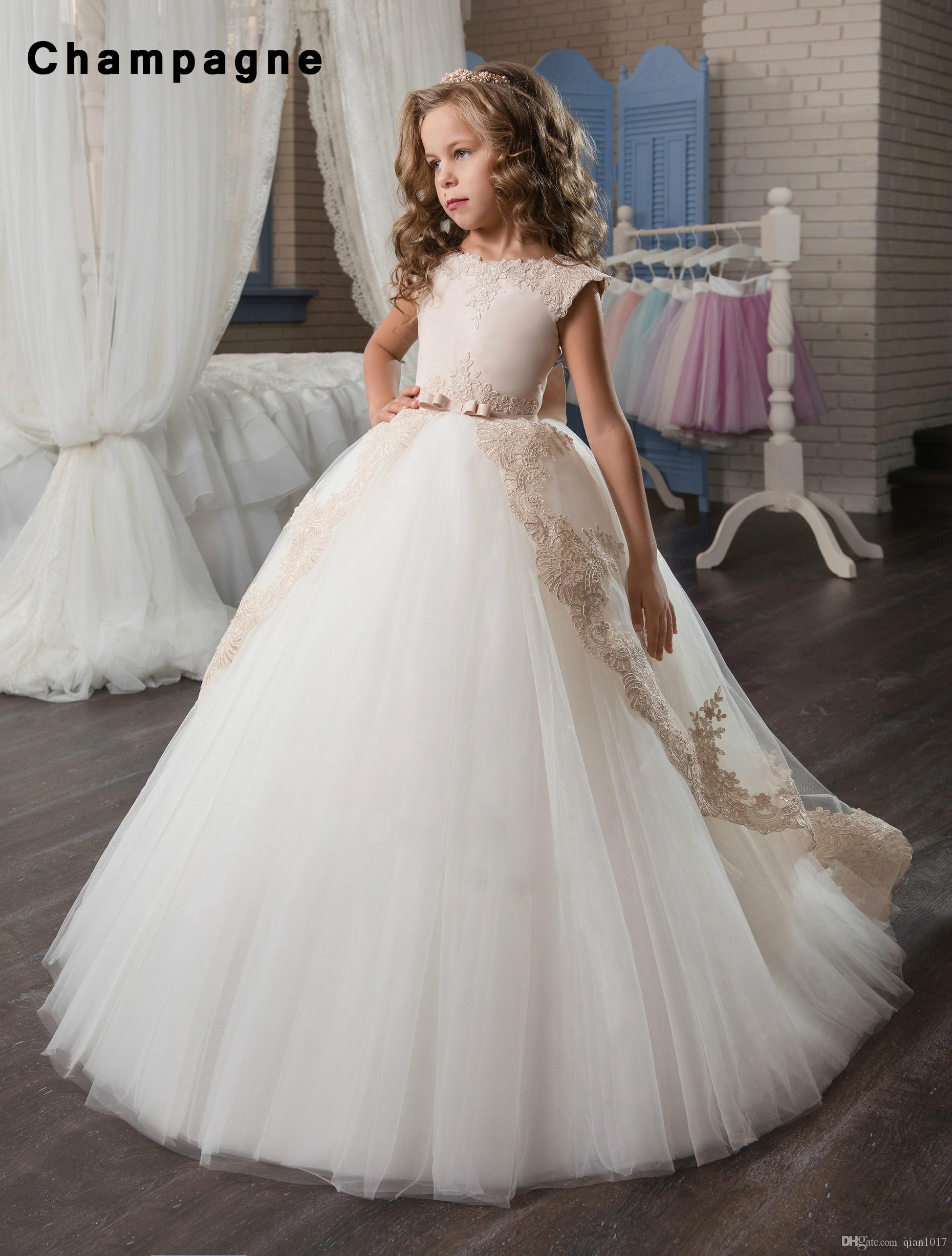 66823f706b 2019 Fancy Flower Girl Dress Tulle Satin Lace Cap Sleeves Kids Pageant Ball  Gown From Qian1017, $55.28 | DHgate.Com